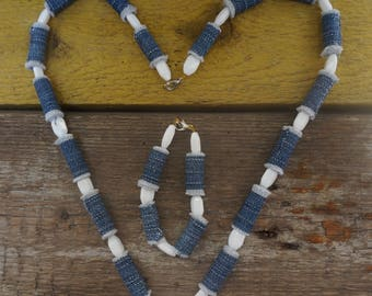Fashionable, Jeans, Denim, Fabric Necklace and Bangle, Bracelet with Jeans Beads, Handmade