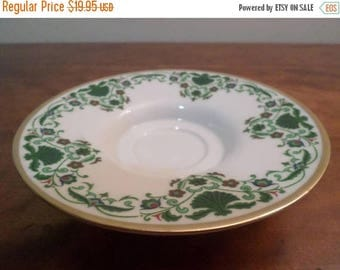 Save 25% Now Vintage Lenox China Footed Candle Holder/Tray Green White Gold Trim Pristine Condition