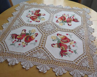 """New """"wonderfully embroidered Spring Easter tablecloth Osterdeko"""" little chicks and chickens Spring Flowers """"wonderfully broad peaks lace"""