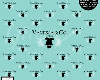 Onesie backdrop Baby and Co Step & Repeat backdrops, breakfast at tiffany's baby shower birthday, Boy or Girl Digital File Only!