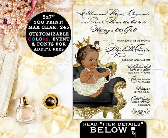 African American girl baby shower, princess girl ethnic baby, printable, diamonds and pearls, ribbons, gold and ivory, party invites, 5x7