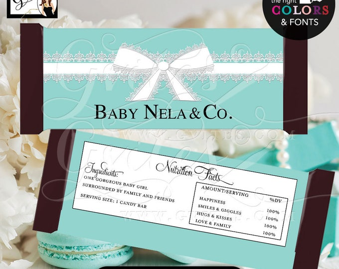 "Baby & Co Candy Bar Wrappers, Blue themed baby shower favors, hershey bar chocolate, labels, party printables {2 Per/Sheet 5.25 x 5.75""}"