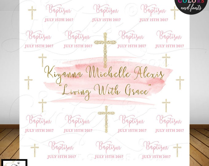 Custom Step and Repeat backdrop, Baptism, pink and gold watercolor custom step & repeat banner back drops sign, Digital File Only!
