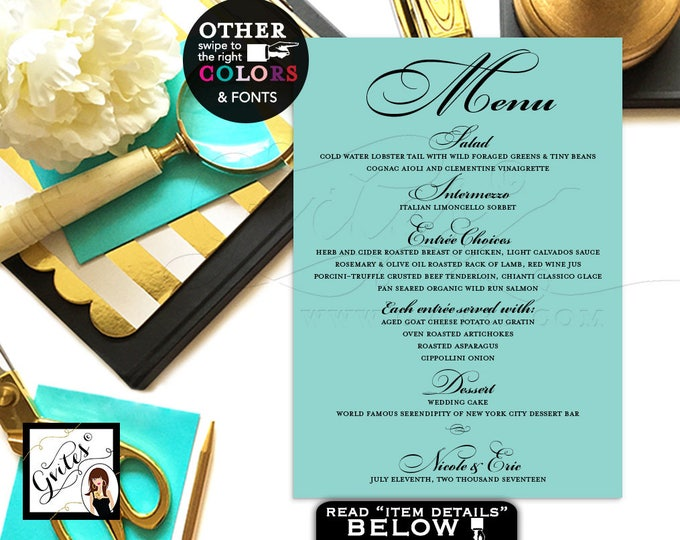 Wedding Menu Cards, blue themed place setting, elegant menus, printable table cards, table decoration, dining, weddings 5x7. DIGITAL FILE!