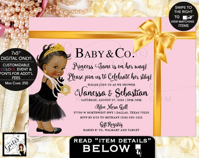 "Pink and Gold Baby Shower Invitation, Baby and Co. Princess baby shower, baby and company invitations, DIGITAL FILE ONLY! 7x5"" Gvites."