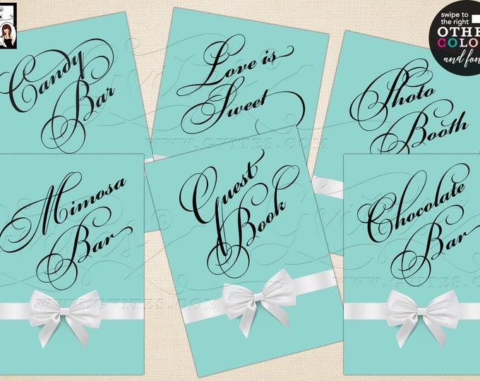 "Breakfast at Tiffany's party signs, personalized with your own text. Max characters is 12. Set of 6 {4x6"" or 5x7""} Digital File Only!"