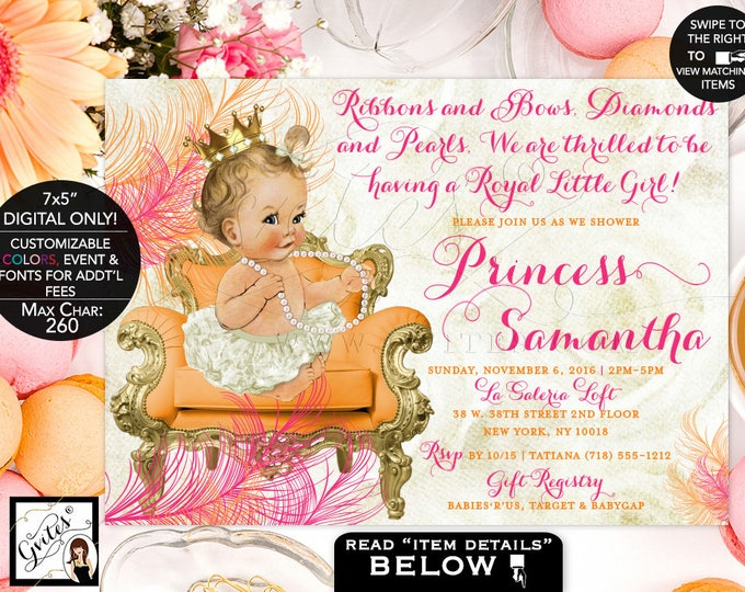 """Orange and Pink Baby Shower Invitation, Pink Gold Printable Princess Baby Girl Vintage Invites, Gold Crown Ribbons Bows Diamonds Pearls 7x5"""""""