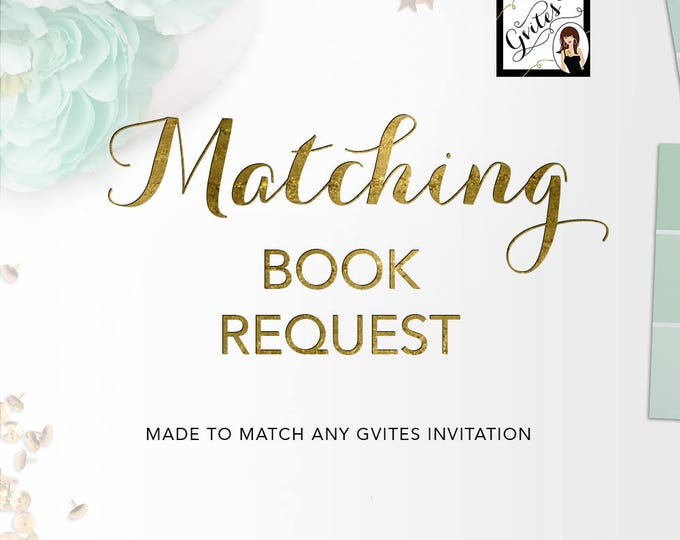 Matching book request cards, stock baby's library Add-on - To coordinate with any Gvites invitation design. Turnaround 3 Business Days