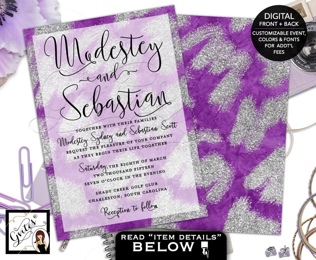Purple And Silver Wedding Invitation, Watercolor Lilac Lavender, Silver  Glitter Wedding Invites, Printable Digital File, Double Sided, 7x5.