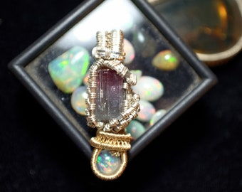 Cruziero Tourmaline and Fire Opal Wire Wrap