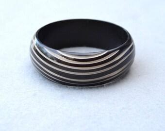 Carved & Dyed Plastic Bangle Bracelet Dark Brown Vintage