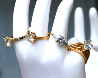 Reduced for Clearance - Lot of 4 CZ Rings Vintage