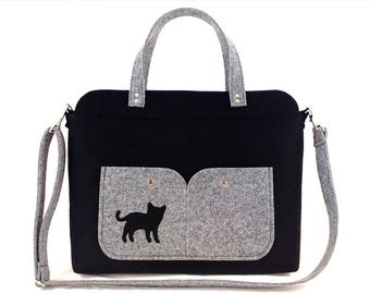 Cat bag Laptop bag Bag for women Shoulder bag Black bag Felt bag Designer handbag Felt shoulder bag