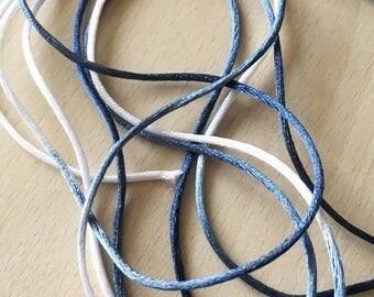blue white gray knotting thread.  diameter: 2 mm