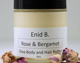 4 oz. Rose and Bergamot Shea Body and Hair Butter