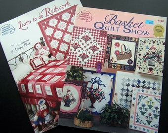 Quilting Books Lot of 2 -  Redwork, Basket Wall Hangings, Instruction Pattern Books