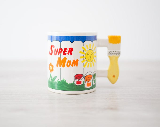 Super Mom Mug with Yellow Paintbrush Handle and White Picket Fence / Vintage Mug