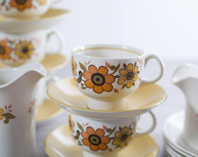 Teacup Set / Vintage 1970's Flower Tea Serving Set / Boho Ornate Ridgway Ironstone England Harvest Gold Pattern Creamer and Sugar