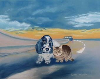 Pet cat dog picture art chalk pastel painting