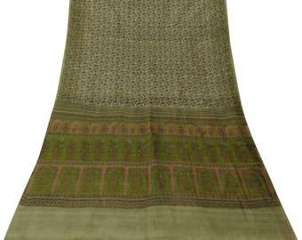 Vintage Indian Polyester Saree Beige Floral Printed Sari Craft Antique Fabric Used Saree Decorative Fabric 5 Yd A15616