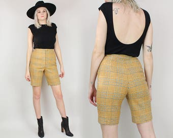 60s Plaid Wool Shorts, Size Small, High Waisted Bermuda Shorts, Houndstooth Pedal Pushers, Yellow Gold Mustard Brown, 1950s, School Uniform