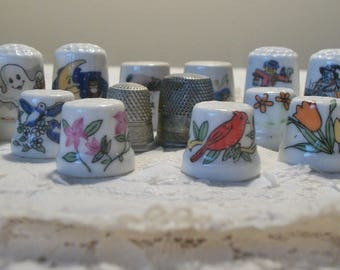 Nice Vintage Lot of 16 Mixed Porcelain, Metal and A Bonus Cloisonne Decorated Sewing THIMBLES Various Sizes Shapes & Designs