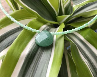 "15"" Blue amazonite and czech bead necklace/choker"