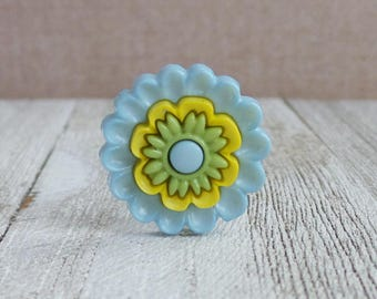 Flower - Green Yellow Blue Flower - Wedding - Gift Idea Lapel Pin