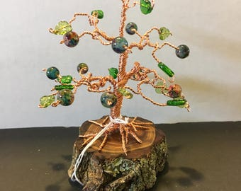 SOLD!!! COPPER wire 'Bonsai' Tree with colorful glass beads
