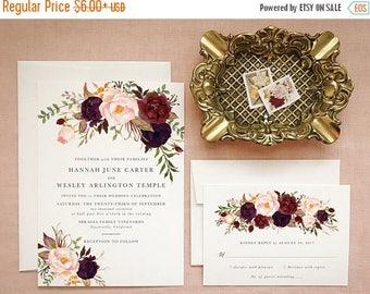 Burgundy Floral Wedding Invitations in Marsala and Blush