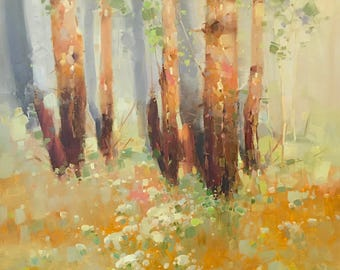 Birches Grove, Landscape Original oil painting, Handmade artwork, large size painting, one of a kind