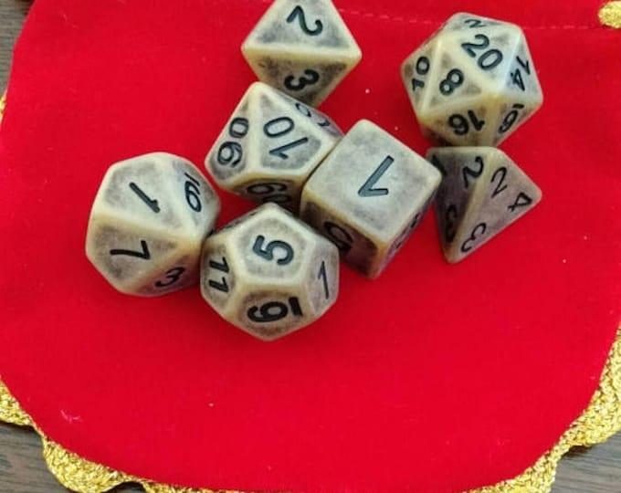 Retrocon Sale - Sandalwood - 7 Die Polyhedral Set with Pouch