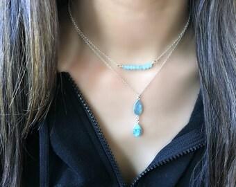 Layered Aquamarine Necklace Aqua chalcedony Necklace Layering Necklace Aquamarine Quartz Aqua Jewelry Aquamarine Gemstone sterling silver
