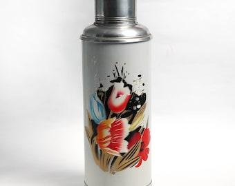 Vintage aluminum thermos SUNFLOWER, Vintage travel thermos, Kitchen decoration, Shabby chic decor
