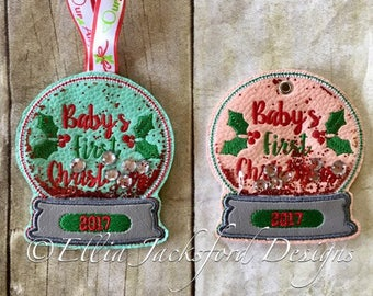 Baby's First Christmas - 2017 - Snow Globe - Ornament -  2 Styles - In The Hoop - DIGITAL Embroidery DESIGN