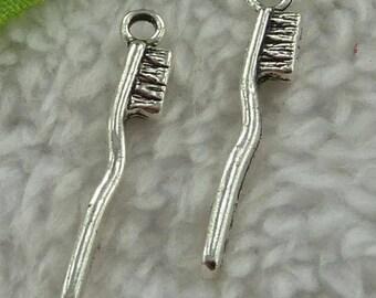 Silver tooth brush 2 X 30mm Tibetan