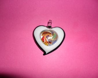 HEART Pendant 1 black & white interior glass 40mm