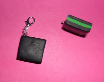 "1 ""English black & green candy"" Charms polymer clay 20mm"