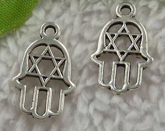 X 2 handmade of Tibetan silver Hamsa