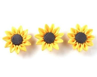 X 1 yellow 30mm polymer clay flower bead