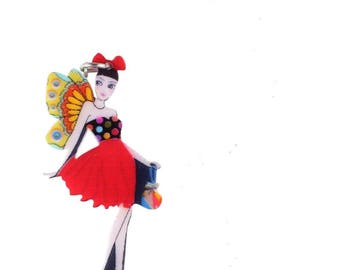 X 1 large colorful acrylic fairy