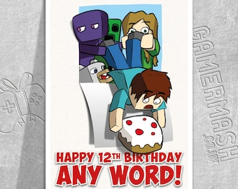 PERSONALISED BIRTHDAY CARD - Crafty Hole - Minecraft Themed