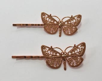 Fabulici Butterfly Bobby Pins Set of 2 hair pins hair clip boho brooch pin wedding barrettes bridal accessories rose gold silver bronze gold