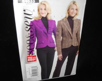 Misses Jacket See & Sew B4833 Womens Size 6 8 10 12 Fitted Jacket Lined