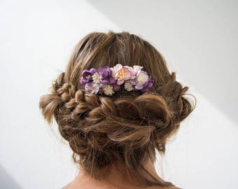 Purple Floral Hair Comb