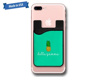 Delta Gamma Pineapple Phone Caddy - Sticker Pocket Wallet - Personalized Cell Phone Pocket PC1013