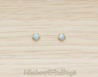 ERG388-G-BO // Glossy Gold Plated Blue Opal Earpost, 2 Pc