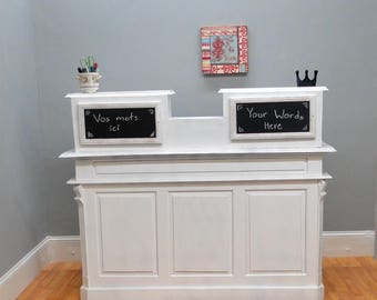 Cottage Chic Antique Painted White Store Counter, French Restaurant Desk, Reception Desk