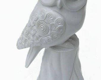 Cute Porcelain Ceramic White Owl statue danish modern fine bird So Cute !