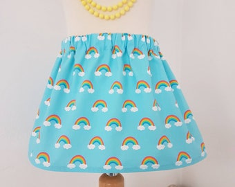 Rainbow skirt, rainbow party, blue skirt , unicorn clothing, UK clothing